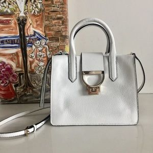 Coccinelle White Pebbled Leather Satchel Bag